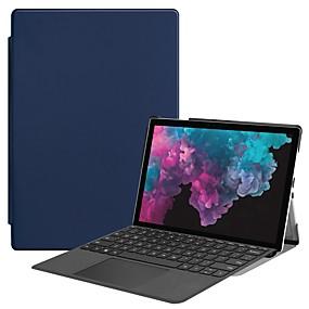 Недорогие Чехол для других планшетов-Кейс для Назначение Microsoft Surface Go Surface Pro 3/4/5 Защита от удара / со стендом / Магнитный Чехол Однотонный Твердый Кожа PU