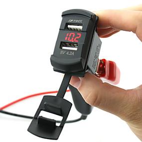 Недорогие Автомобильные зарядные устройства-5v 4.2a автомобильное зарядное устройство с двумя портами USB светодиодный цифровой вольтметр с проводами и изолированными термоусадочными разъемами для грузовика и мотоцикла