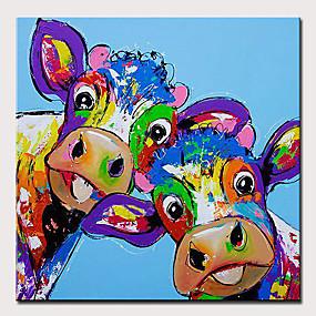 economico Pittura-Hang-Dipinto ad olio Dipinta a mano - Astratto / Pop Art Modern Senza telaio interno