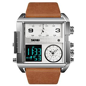 Недорогие Фирменные часы-SKMEI Муж. Спортивные часы Армейские часы электронные часы Цифровой Роскошь Защита от влаги Натуральная кожа Черный / Коричневый Аналого-цифровые - Коричнево-черный Черный / серый Черный / Серебристый