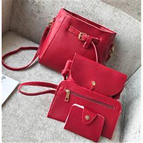 cheap Women's Bags-Women's PU Bag Set Bag Sets Solid Color 4 Pieces Purse Set Black / Brown / Light Grey