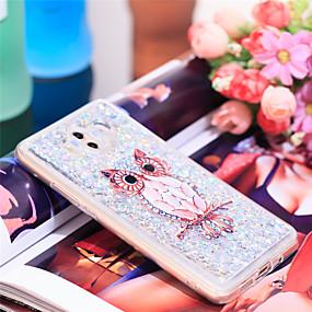 Недорогие Чехлы и кейсы для Huawei Mate-Кейс для Назначение Huawei Mate 10 Защита от удара / Сияние и блеск Кейс на заднюю панель Сова / Сияние и блеск Мягкий ТПУ