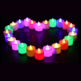 ieftine Lumini Nocturne LED-24 buc led lumânare ceai lumină alimentată cu baterie lampă simulare culoare flacără intermitent acasă nunta ziua de naștere decorare lumânări