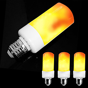ieftine Becuri LED Lumânare-zdm 4pcs e26 e27 / e14 5w cu efect de flacără bec cu bec-4 moduri cu efect cu capul în jos ac85-265v