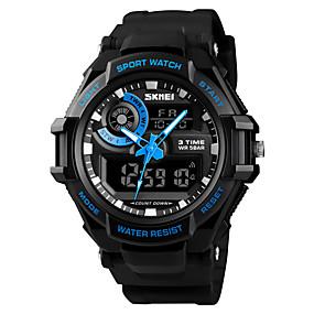 Недорогие Фирменные часы-SKMEI Муж. Спортивные часы Армейские часы электронные часы Цифровой Стеганная ПУ кожа Черный 50 m Будильник Календарь Секундомер Аналого-цифровые На каждый день Мода - Черный Красный Синий / Один год