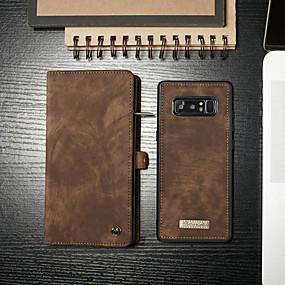 Недорогие Чехлы и кейсы для Galaxy Note 8-Кейс для Назначение SSamsung Galaxy Note 8 Кошелек / Бумажник для карт / со стендом Чехол Однотонный Твердый Кожа PU