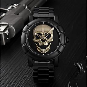 Недорогие Фирменные часы-SKMEI Муж. Спортивные часы Цифровой Нержавеющая сталь Черный 30 m Защита от влаги Повседневные часы Череп Аналоговый Роскошь Мода - Серебряный Светло-Зеленый Розовое золото