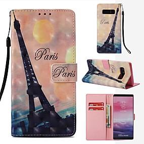 Недорогие Чехлы и кейсы для Galaxy Note 8-Кейс для Назначение SSamsung Galaxy Note 8 Кошелек / Бумажник для карт / Флип Чехол Эйфелева башня Твердый Кожа PU