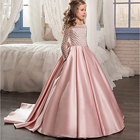 cheap Flower Girl Dresses-Ball Gown / Princess Sweep / Brush Train Flower Girl Dress - Polyester Long Sleeve Jewel Neck with Lace by LAN TING Express