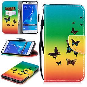 Недорогие Чехлы и кейсы для Galaxy J5(2016)-Кейс для Назначение SSamsung Galaxy J5 (2016) Кошелек / Бумажник для карт / Защита от удара Чехол Бабочка Твердый Кожа PU