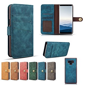Недорогие Чехлы и кейсы для Galaxy Note 8-Кейс для Назначение SSamsung Galaxy Note 9 / Note 8 Кошелек / Бумажник для карт / Защита от удара Чехол Однотонный Твердый Настоящая кожа
