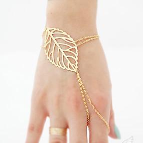 billige Ringarmbånd-Dame Ringarmbånd Hul Bladformet Stilfuld Simple Europæisk Legering Armbånd Smykker Guld / Sølv Til Daglig