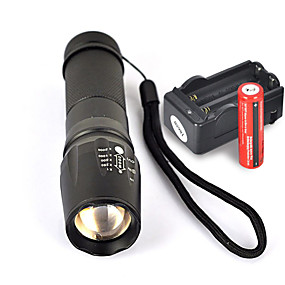 olcso Elemlámpa készlet-UltraFire W-878 LED zseblámpák 1800 lm LED LED 1 Sugárzók 5 világítás mód akkukkal és töltővel Csúszásgátló markolat Kempingezés / Túrázás / Barlangászat Mindennapokra Kerékpározás Fekete