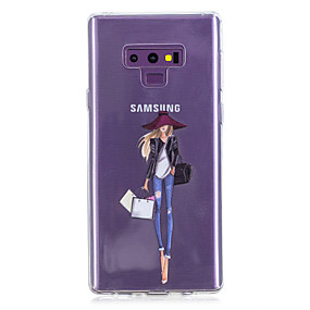 Недорогие Чехлы и кейсы для Galaxy Note 8-Кейс для Назначение SSamsung Galaxy Note 9 / Note 8 С узором Кейс на заднюю панель С сердцем / Соблазнительная девушка Мягкий ТПУ