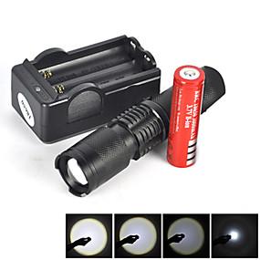olcso Elemlámpa készlet-5 LED zseblámpák Taktikai Vízálló 1800 lm LED LED Sugárzók 5 világítás mód akkuval és töltővel Taktikai Vízálló Nagyítható Újratölthető Mini Ütésálló Kempingezés / Túrázás / Barlangászat