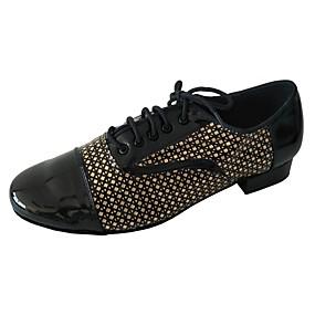 povoljno MEN SALE-Muškarci Plesne cipele PU Cipele za latino plesove Štikle Debela peta Crno Zlato