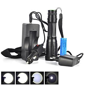 olcso Elemlámpa készlet-5 LED zseblámpák Taktikai Vízálló 1800 lm LED LED Sugárzók 5 világítás mód akkuval Taktikai Vízálló Nagyítható Újratölthető Állítható fókusz Ütésálló Kempingezés / Túrázás / Barlangászat