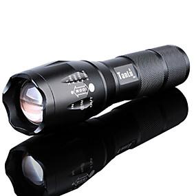 ieftine Lanterne-Lanterne LED Rezistent la apă Zoomable 3000 lm LED LED emițători 5 Mod Zbor Cu Baterie și Încărcător Rezistent la apă Zoomable Reîncărcabil Focalizare Ajustabilă Foarte luminos De mare putere Camping