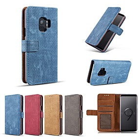 voordelige Galaxy S6 Edge Plus Hoesjes / covers-hoesje Voor Samsung Galaxy S9 / S9 Plus / S8 Plus Portemonnee / Kaarthouder / Schokbestendig Volledig hoesje Effen Hard PU-nahka