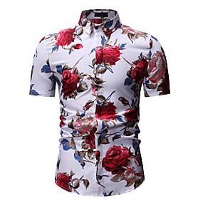 זול $3.99-פרחוני צווארון קלאסי חולצה - בגדי ריקוד גברים דפוס לבן / שרוולים קצרים