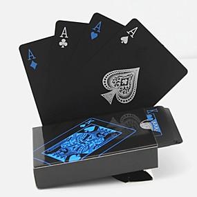 tanie Dekoracje metalowe-pvc poker wodoodporne plastikowe karty do gry zestaw czarne karty zestawy klasyczne magiczne sztuczki narzędzie gry w pokera