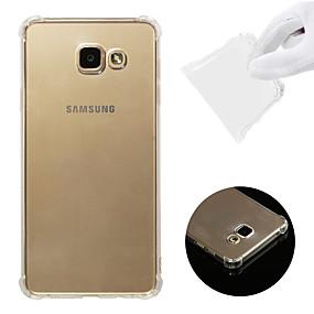 olcso Galaxy A7(2016) tokok-Case Kompatibilitás Samsung Galaxy A7(2016) Ütésálló / Átlátszó Fekete tok Egyszínű Puha TPU