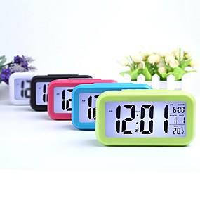 ieftine Lumini Nocturne LED-ceas de alarmă digital cu lumină inteligentă de noapte, cu temperatură interioară, ceas de noptieră pentru lumina de fundal