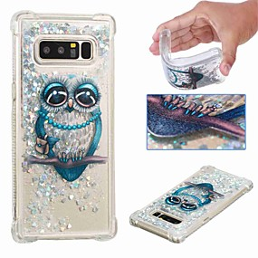 Недорогие Чехлы и кейсы для Galaxy Note 8-Кейс для Назначение SSamsung Galaxy Note 9 / Note 8 Защита от удара / Движущаяся жидкость / Прозрачный Кейс на заднюю панель Сова / Сияние и блеск Мягкий ТПУ