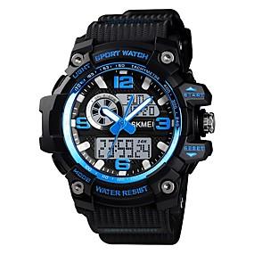 Недорогие Фирменные часы-SKMEI Муж. Спортивные часы Армейские часы электронные часы Цифровой силиконовый Черный / Коричневый / Зеленый 50 m Будильник Секундомер С тремя часовыми поясами Аналого-цифровые На каждый день Мода -