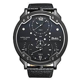Недорогие Фирменные часы-Oulm Муж. Наручные часы Кварцевый Крупногабаритные Мода С двумя часовыми поясами Кожа Черный / Синий / Коричневый Аналоговый - Белый Черный Синий Один год Срок службы батареи / Японский / Японский