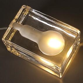 رخيصةأون مصابيح ليد مبتكرة-1PC مكعبات ثلج الصمام ليلة الخفيفة أصفر دس بالطاقة إبداعي 220-240 V