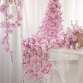 tanie Sztuczne kwiaty-Sztuczne Kwiaty 1 Gałąź Montaż naścienny Zawieszony Impreza Ślub Sakura kosz kwiatów