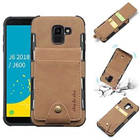 voordelige Galaxy J5(2017) Hoesjes / covers-hoesje Voor Samsung Galaxy J8 (2018) / J6 (2018) / J6 Plus Portemonnee / Kaarthouder / Schokbestendig Achterkant Effen Zacht PU-nahka