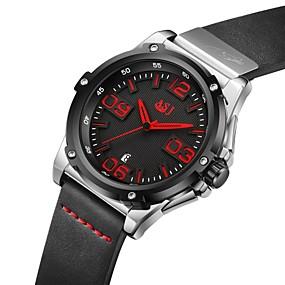 Недорогие Фирменные часы-ASJ Муж. Спортивные часы Японский кварц На каждый день Календарь Натуральная кожа Черный Аналоговый - Черный Красный Оранжевый Два года Срок службы батареи / SSUO AG4