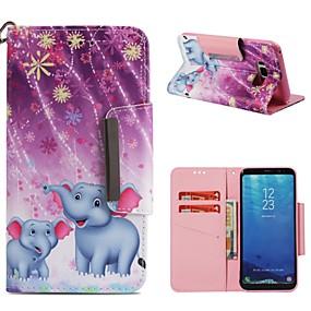 voordelige Galaxy S7 Edge Hoesjes / covers-hoesje Voor Samsung Galaxy S9 / S9 Plus / S8 Plus Portemonnee / Kaarthouder / Schokbestendig Volledig hoesje Olifant Hard PU-nahka