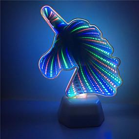 رخيصةأون مصابيح ليد مبتكرة-1x 3d يونيكورن شكل نفق تأثير الإضاءة الملونة مصباح الليل أأ بطارية بدعم ديكور المنزل أدى lightinga0006