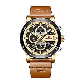 Недорогие Фирменные часы-NAVIFORCE Муж. Спортивные часы Армейские часы Японский кварц Роскошь Защита от влаги Натуральная кожа Черный / Коричневый / Небесно-голубой Аналоговый - Розовое золото Brown / Gold Черный / Один год