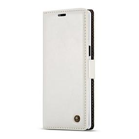 Недорогие Чехлы и кейсы для Galaxy Note 8-Кейс для Назначение SSamsung Galaxy Note 8 С узором / Магнитный Чехол Однотонный Мягкий Настоящая кожа