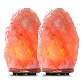 رخيصةأون مصابيح ليد مبتكرة-YouOKLight 2pcs الجدول مصباح الليل أبيض دافئ مدعوم من AC لمصباح الملح جبال الهيمالايا 220-240 V