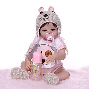 cheap Dolls & Stuffed Toys-NPKCOLLECTION Reborn Doll Baby Girl 20 inch Full Body Silicone Vinyl - Gift Hand Made Artificial Implantation Brown Eyes Kid's Girls' Toy Gift