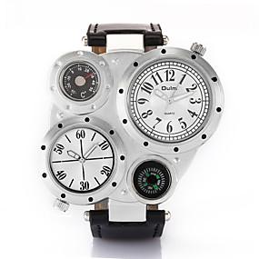Недорогие Фирменные часы-Oulm Муж. Наручные часы Кварцевый Кожа Черный / Коричневый Термометр Компас С двумя часовыми поясами Аналоговый Мода - Белый Черный Кофейный Один год Срок службы батареи / Крупный циферблат