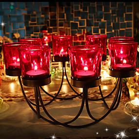 رخيصةأون Home Fragrances-الحديث المعاصر / أسلوب بسيط زجاج / الحديد Candle Holders دعامة / عيد ميلاد / شمعدان 1PC, شمعة / حامل شمعة