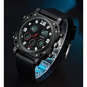 Недорогие Фирменные часы-ASJ Муж. Спортивные часы электронные часы Японский кварц На каждый день Повседневные часы Натуральная кожа Черный Аналого-цифровые - Черный Два года Срок службы батареи / SSUO SR626SW + CR2025