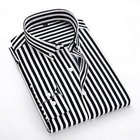 povoljno Up to 90% off-Veličina EU / SAD Majica Muškarci Dnevno Prugasti uzorak Klasični ovratnik Crn / Dugih rukava