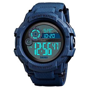 Недорогие Фирменные часы-SKMEI Муж. Спортивные часы Армейские часы электронные часы Цифровой силиконовый Черный / Синий 50 m Будильник Календарь Секундомер Цифровой На каждый день Мода - Красный Зеленый Черный / Синий