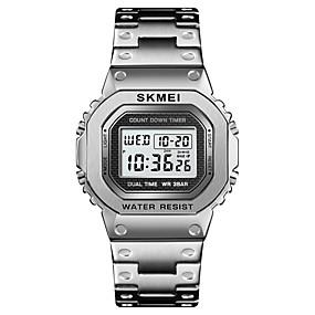 Недорогие Фирменные часы-SKMEI Муж. Спортивные часы Наручные часы электронные часы Цифровой На каждый день Будильник Нержавеющая сталь Черный / Серебристый металл / Золотистый Цифровой - Розовое золото Черный Синий