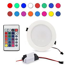 رخيصةأون مصابيح سقف-1PC 5 W 300-500 lm 5 الخرز LED تحكم عن بعد تخفيت سهولة التثبيت أضواء LED RGB + الأبيض 85-265 V سقف تجاري المنزل / مكتب / بنفايات / CE / 90