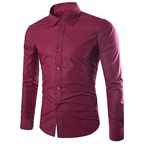 abordables $3.99-Chemise Taille EU / US Homme, Couleur Pleine - Coton Travail Business / Basique Col Classique Mince Vin / Automne / Manches Longues