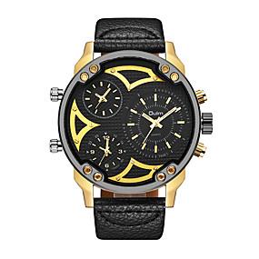 Недорогие Фирменные часы-Oulm Муж. Наручные часы Кварцевый Мода С тремя часовыми поясами Кожа Черный Аналоговый - Золотой + черный Золотой + белый Белый Один год Срок службы батареи / Японский / Крупный циферблат / Японский