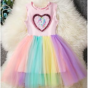 povoljno New Year 2020-Djeca Djevojčice Osnovni Unicorn Duga Kolaž Bez rukávů Haljina Blushing Pink